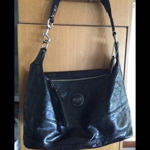 Coach Black Patten Leather Hobo Handbag F17421